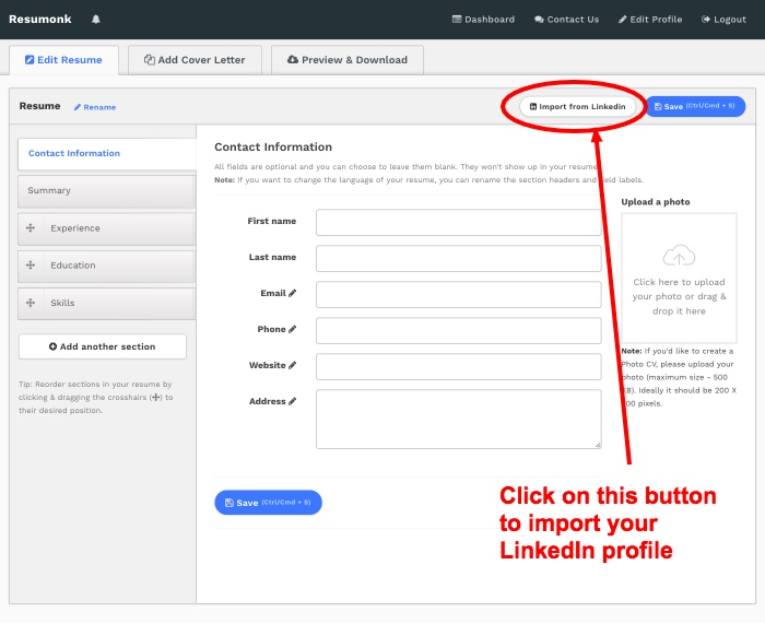 Import Linkedin Profile  Resume Builder From Linkedin