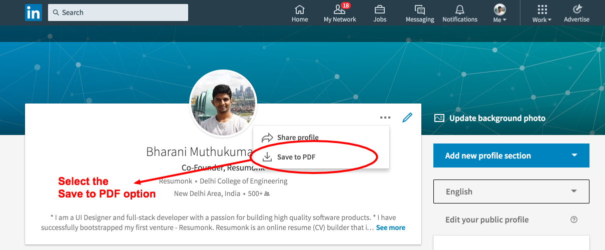 Download Your LinkedIn Profile As PDF