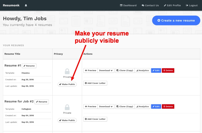 how to make your resume cv public or private search our