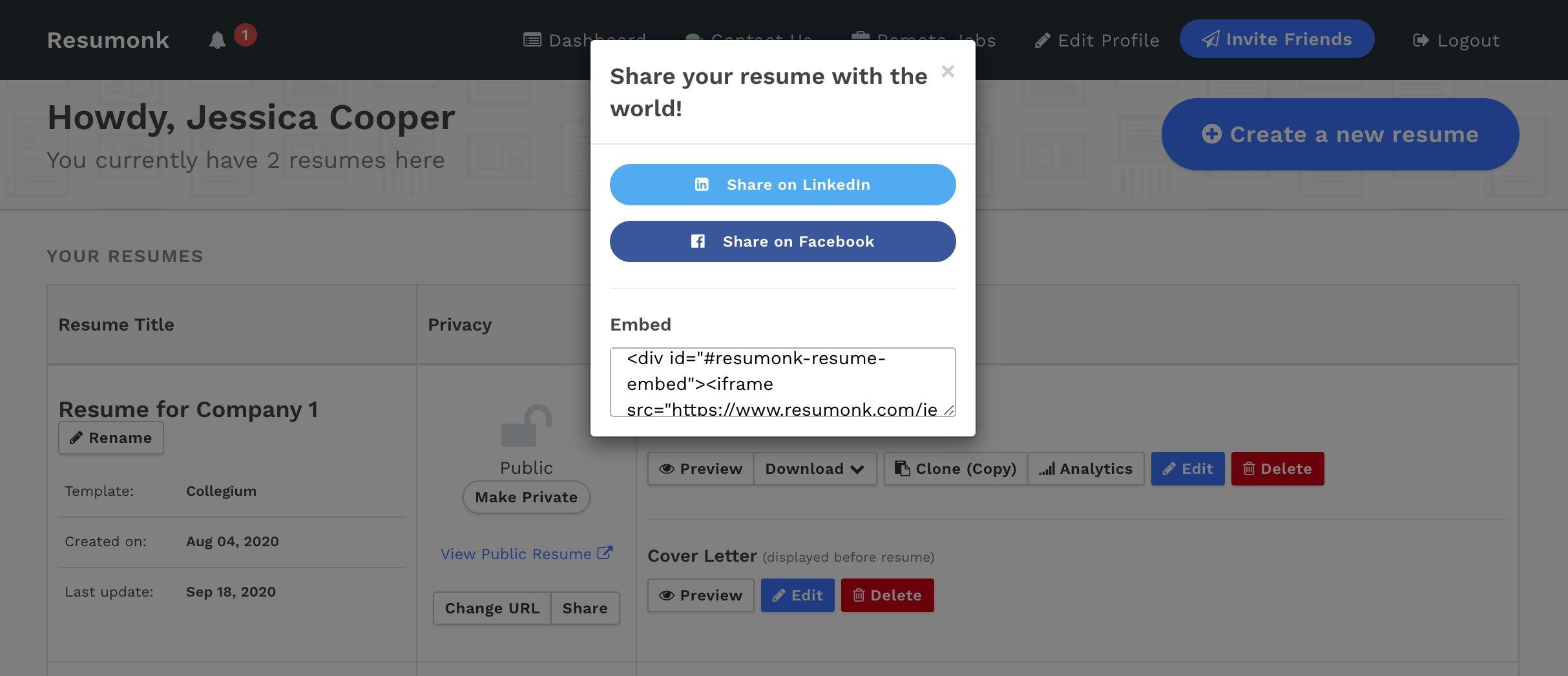 Embed Resume