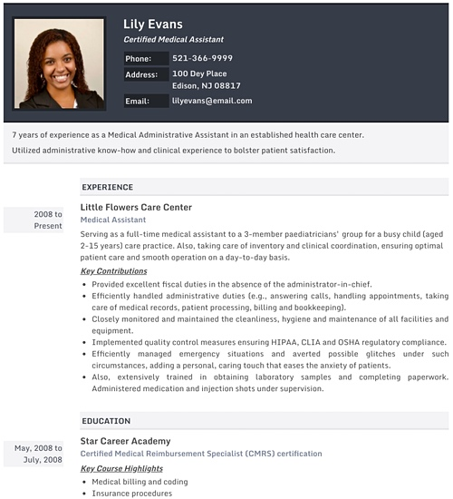 Photo Resume Templates Professional CV Formats