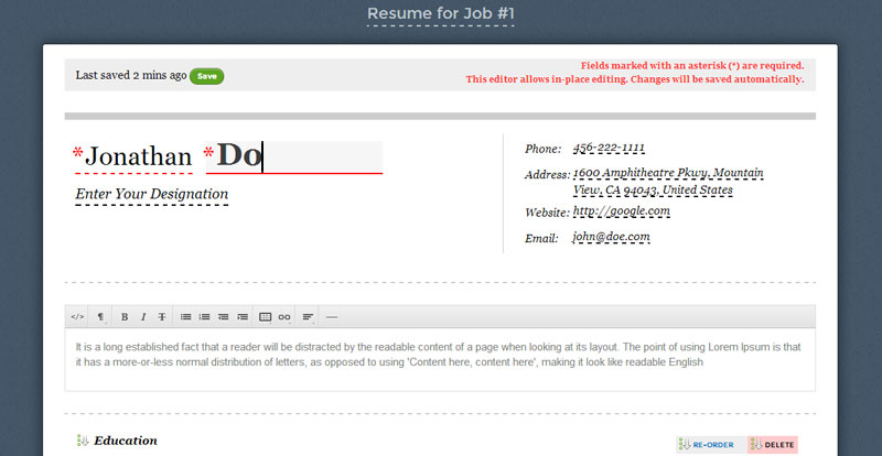 Resumonk Inplace Online Resume Editor