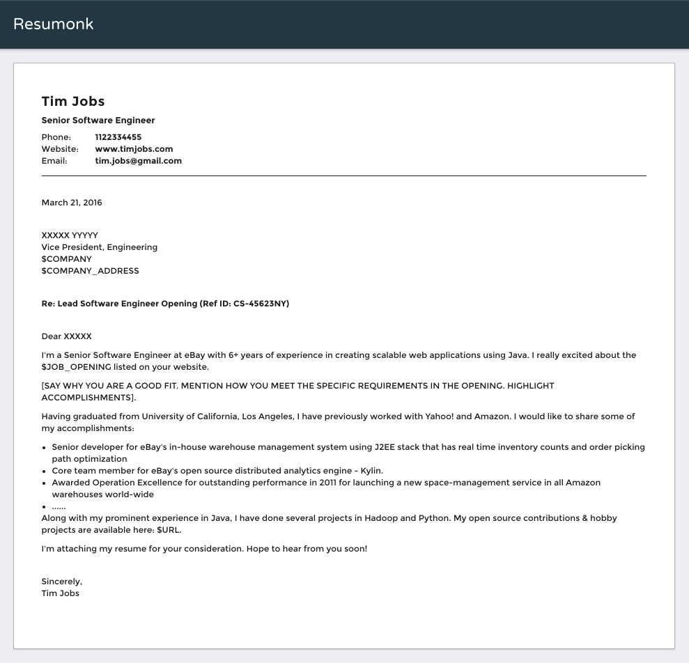 Software Engineer Sample Cover Letter