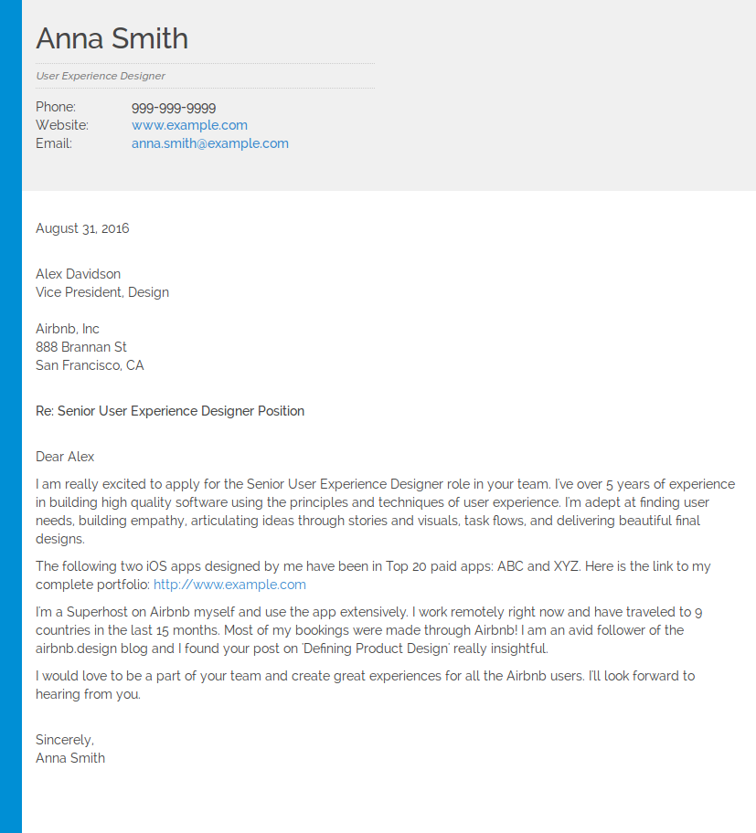 user experience designer cover letter example