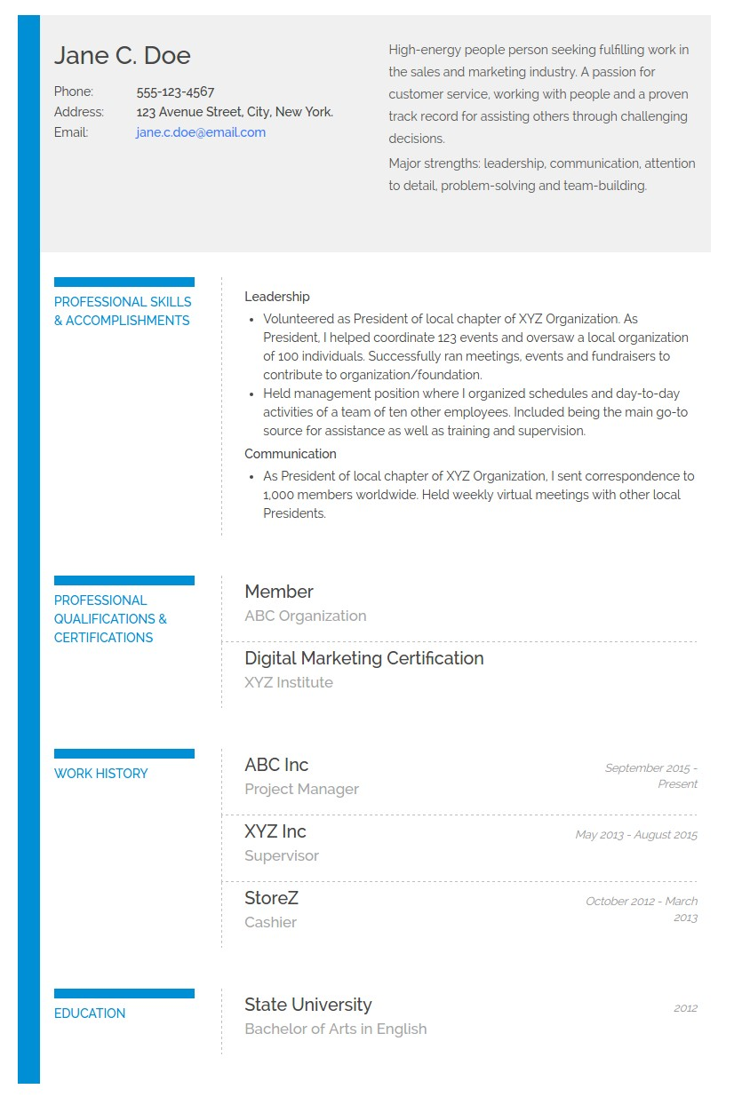 Functional or skills-based resume example
